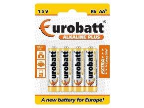 Batérie EUROBATT 1,5V AA (LR6) Alkaline Plus, blister 4ks