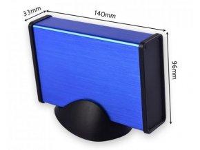Krabička hliníková modrá, 140x96x33mm, bočnice a podstavec ABS