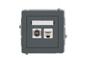 Účastnícka zásuvka koncová F-konektor (SAT) + 1xRJ45, grafit., DECO Kar