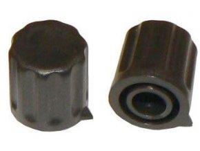 Prístrojový gombík KP1406, 14x15mm, hriadeľ 6mm, čierny s šípkou