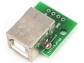 USB B, zdířka na plošném spoji