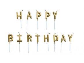 Narozeninové svíčky Happy Birthday, zlaté