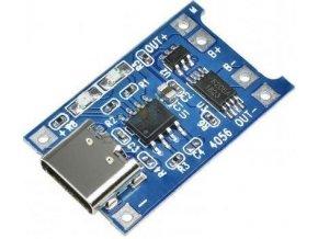 Nabíječka Li-Ion článku 1A s ochranou, modul s IO TP4056 (USB C)