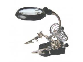 Držáček s lupou - třetí ruka, s LED osvětlením, 65mm