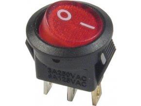 Vypínač kolískový OFF-ON 1pol.250V / 3A červený, presvetlenie 230V