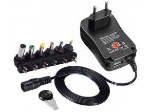 Napájač, sieťový adaptér MANUAL-30W, 3-12V / 2,5A + USB 5V / 2,1 A, spínaný