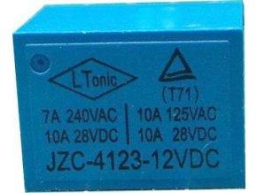 Relé JZC-4123 12V, kontakt 28VDC / 10A (240VAC / 7A)