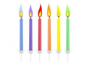 Narozeninové svíčky s barevným plamenem, 6ks