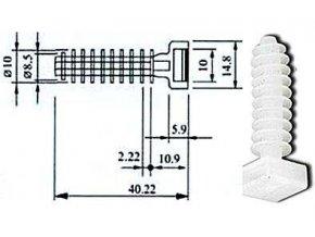 Držiak sťahovacie pásky s kotviace hmoždinkou biely