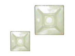Držiak sťahovacie pásky plochý 20x20mm biely
