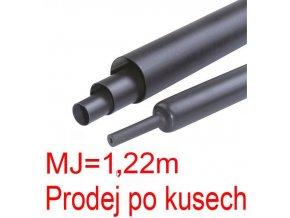 Zmršťovacia bužírka s lepidlom 50 / 17mm čierna, balenie 1,22m