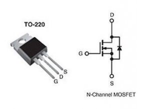IRF830 N MOSFET 500V / 4,5A 100W 1,35Ohm TO220