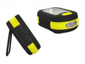 Svietidlo LED COB + 3xLED, napájanie 3xAAA ,, žltá, TIROSS