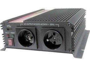 Menič napätia 12V / 230V + USB 1000W, CARSPA CAR 1KU modifikovaná sínusoida