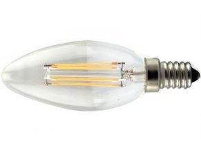 Žiarovka LED E14 sviečková, 4x Filament 230V / 4W, teplá biela
