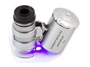 Mikroskop vreckový s osvetlením, zväčšenie 60x, napájanie 3xAG10