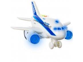 Lietadlo dopravné 20 cm na zotrvačník na batérie so svetlom a zvukom