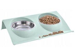 Miska pre psov a mačky dvojitá, nerezová, 2x350ml svetlo zelená