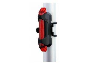 Svietidlo na bicykel zadnej, 5xLED, 15lm, USB, nabíjací, červená
