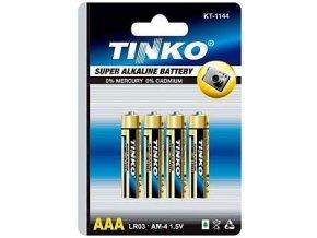 Batérie Tinka 1,5V AAA (LR03) alkalická, balenie 4ks v blistri