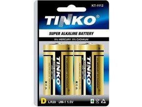 Batérie Tinka 1,5V D (LR20) alkalická, 2ks v blistri