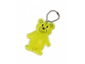 přívěšek reflexní odrazka medvídek žlutý