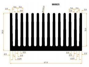 Chladič Al 990925 67x35x40mm