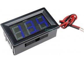 Voltmeter panelový LED modrý, 3,5-30V, NC064, 2 vývody
