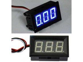 Voltmeter panelový LED modrý, H27V3, 3-30V, 3 vývody