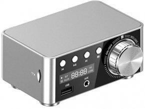 Zosilňovač 2.0 2x25W s AUX IN, Bluetooth, USB, SD kartou strieborný