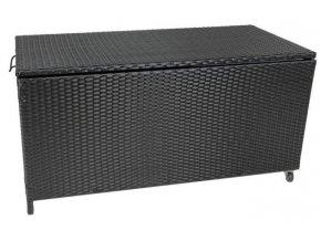 Záhradný úložný box polyratan 118 x 54 x 59 cm čierny