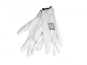 Rukavice z polyesteru polomáčané v PU, biele, 230mm, EXTOL PREMIUM