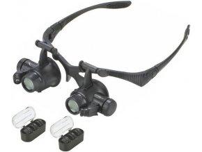 Zväčšovacie okuliare - binokulárne lupa so zväčšením 10-25x a osvetlením
