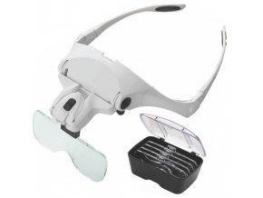 Náhlavná lupa s LED osvetlením, zväčšenie 1-3,5x / Zväčšovacie okuliare /