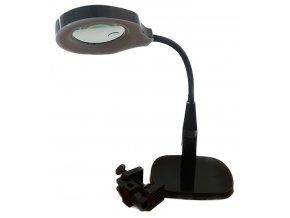 Stolná lupa 9145 bifokálne 3D + 8D, 24x LED, podstavec aj svorka, čierna