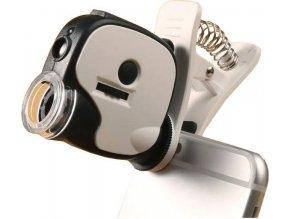 Mikroskop so štipcom k mobilu, zväčšenie 55x, napájanie 3xAG10