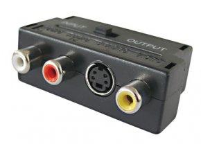 Redukcia Scart konektor/ 3 x CINCH zdierka + SVHS + prepínač IN/OUT TIPA D922