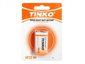 Baterie TINKO 9V 6F22, Zn-Cl, SUPER HEAVY DUTY