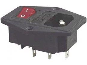 Sieťový konektor IEC60320 230V na panel, poj.pouzdro, vypínač / AS10 /