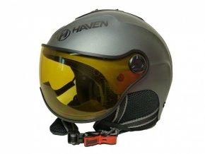 přilba lyžařská HAVEN Visor titan + černé brýle