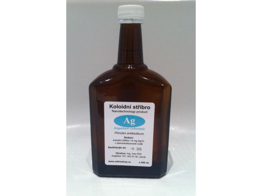 Koloidní stříbro 14 mg Ag/l skleněná lékovka 500 ml