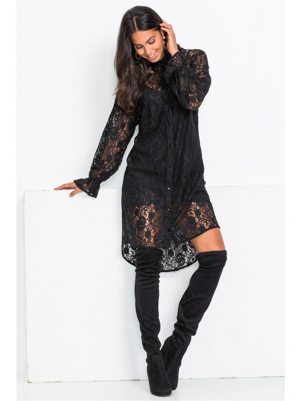 BODYFLIRT elegantní šaty z krajky (BARVA ČERNÁ, VELIKOST 38)