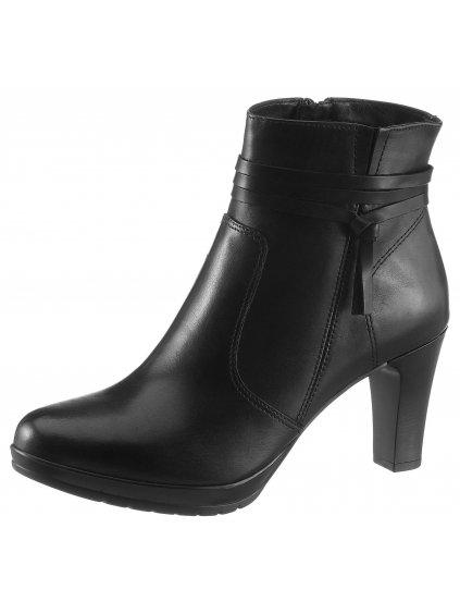 TAMARIS kožené boty na podpatku (BARVA ČERNÁ, VELIKOST 38)