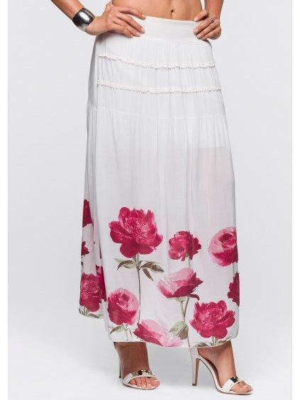 BODYFLIRT dlouhá sukně s květy (BARVA BÍLÁ, VELIKOST 38)