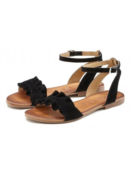 LASCANA kožené sandály (BARVA ČERNÁ, VELIKOST 40)