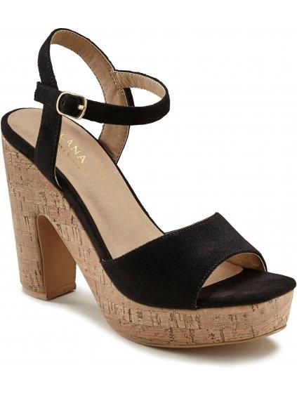 LASCANA sandály na podpatku (BARVA ČERNÁ, VELIKOST 40)