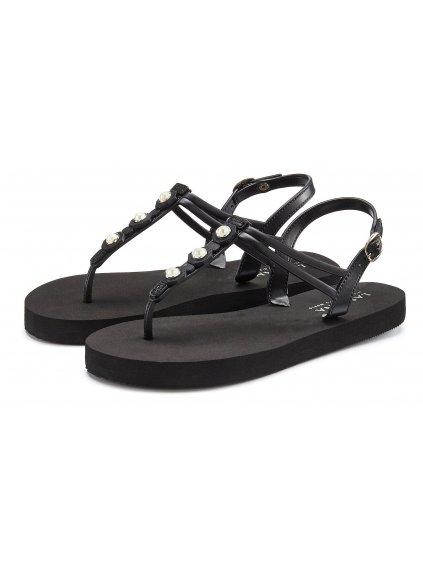 LASCANA žabkové sandály s aplikací (BARVA ČERNÁ, VELIKOST 38)