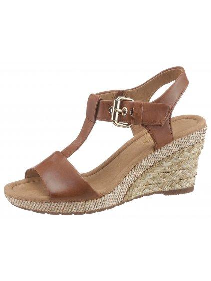GABOR kožené sandály (BARVA HNĚDÁ, VELIKOST 39)