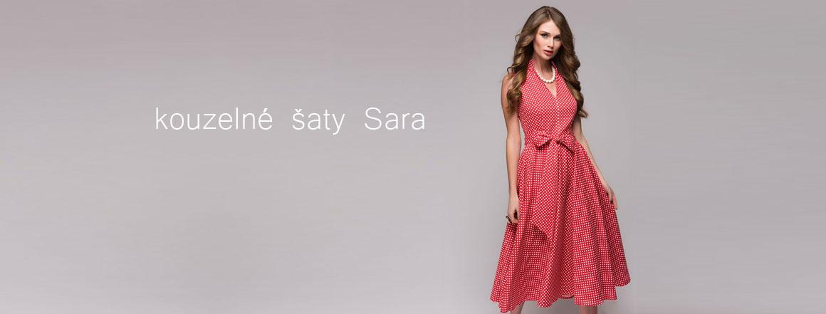 Kouzelné šaty Sara s rozšířenou sukní a mašlí