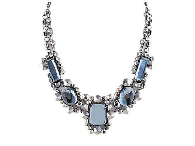 Náhrdelník s modrými a bílými kamínky